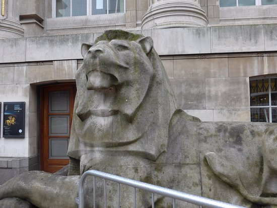 One of the lions outside the north entrance of the British Museum