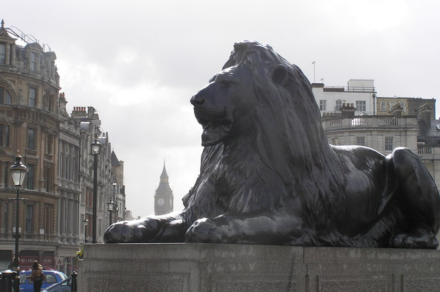 One of the Landseer Lions surrounding Nelson's Column (credit: Chris Dennis)