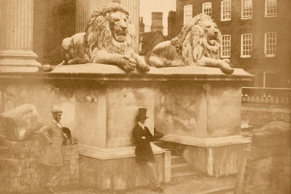 A Victorian photograph of two of the stone lions outside the Fitzwilliam Museum, Cambridge