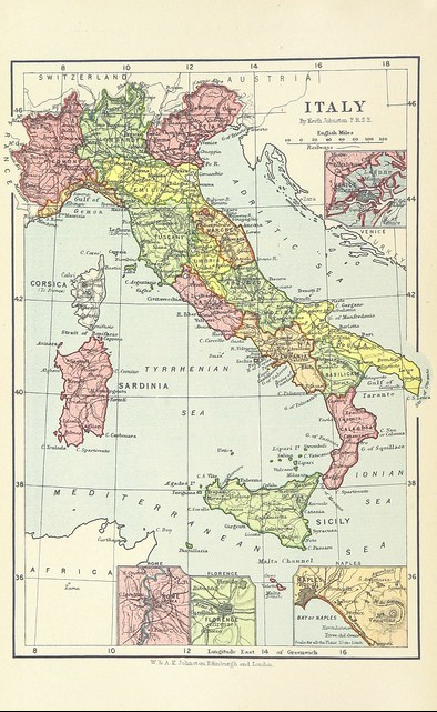 Map of Italy from A Pilgrimage to Italy, etc by James Smith (1899)