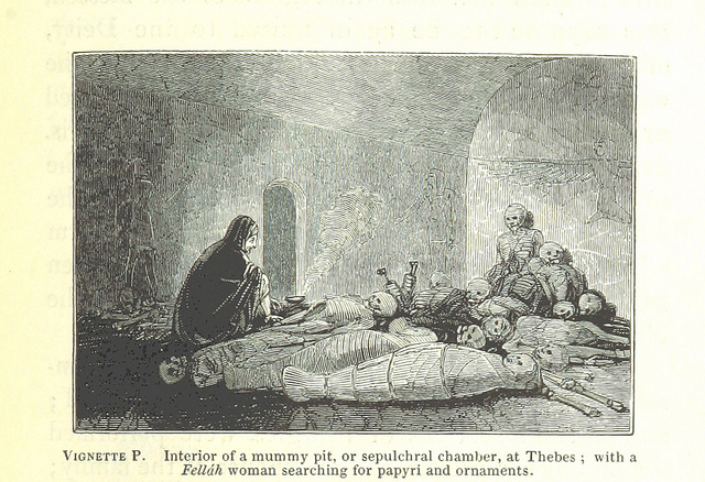 Mummy pit at Thebes from Manners and Customs of the ancient Egyptians by John Gardner Wilkinson, 1837 via The British Library