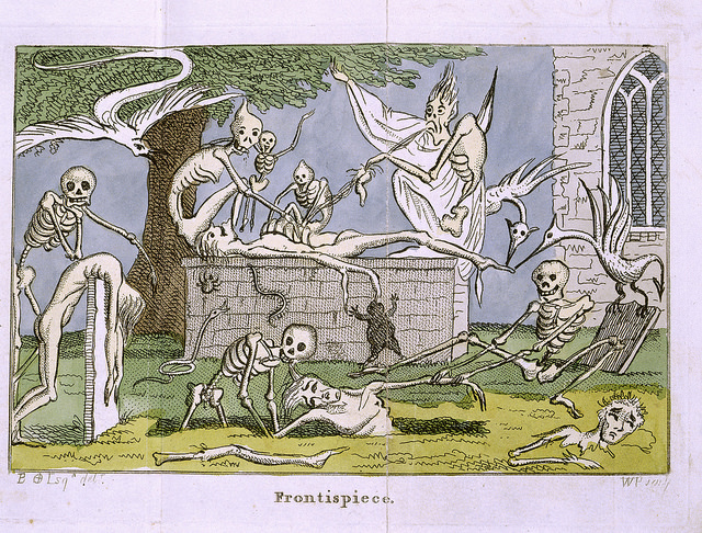 Skeletons and ghouls pull a body from a graveyard