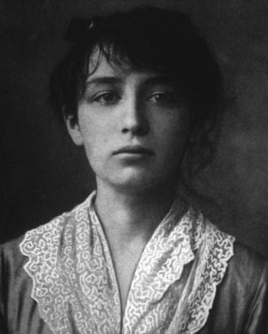 Black and white photo of the artist Camille Claudel