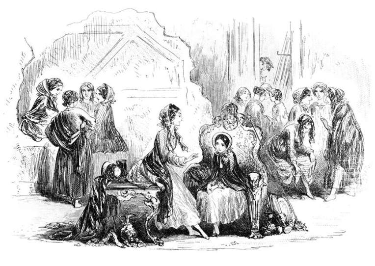 Miss Doritt and Little Dorrit backstage at the theatre by Phiz (1857)