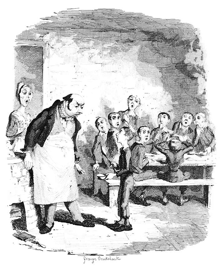Illustration of Oliver Twist 'asking for more' by George Cruikshank (1839)