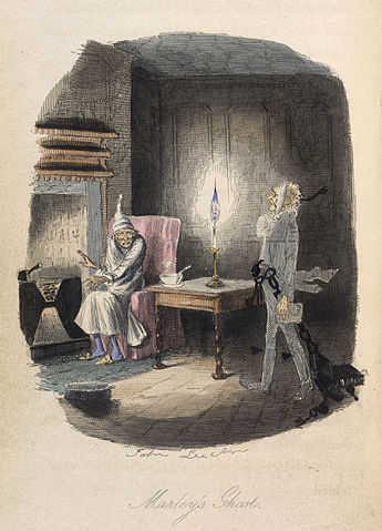 """Marley's Ghost"", original illustration by John Leech from the 1843 edition via The British Library"