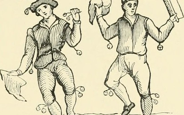 Image from 'Rush-bearing: an account of the old custom of strewing rushes; carrying rushes to church; the rush-cart; garlands in churches; morris-dancers; the wakes; the rush' by Alfred Burton (1891) via Internet Archive